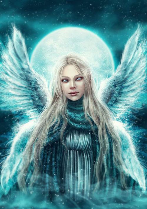 Angel blue drawing illustration