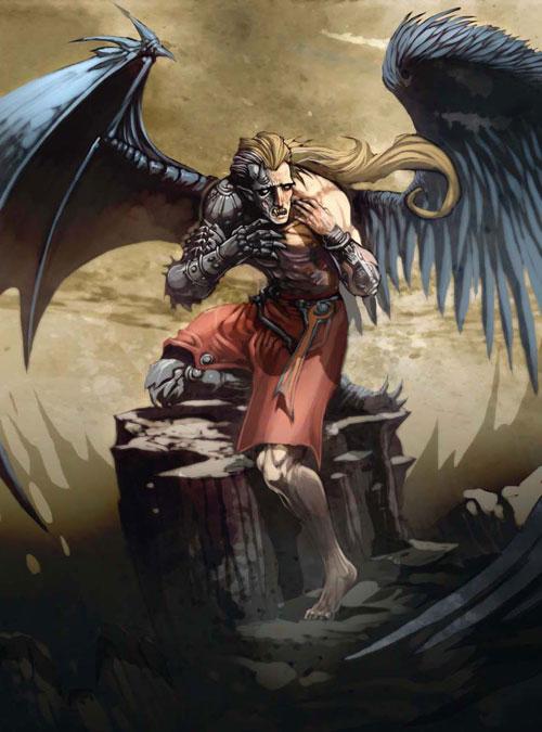 half Angel demon drawing illustration