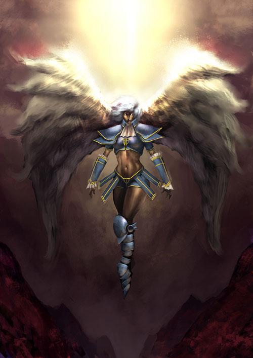 Archangel soldier drawing illustration