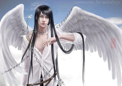 Angel boy drawing illustration