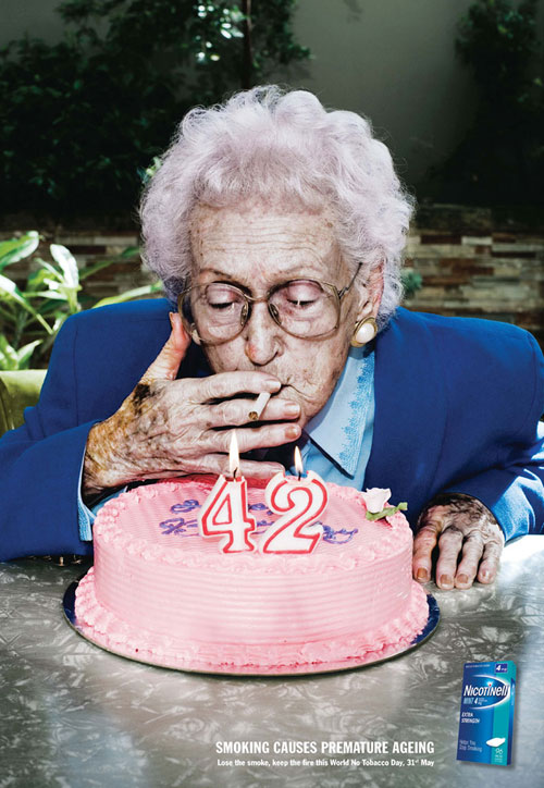 Nicotinell: Smoking causes premature aging Print Advertisement