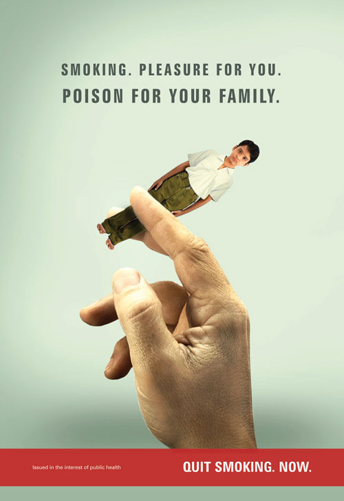 Smoking. Pleasure for you. Poison for your family. Print Advertisement