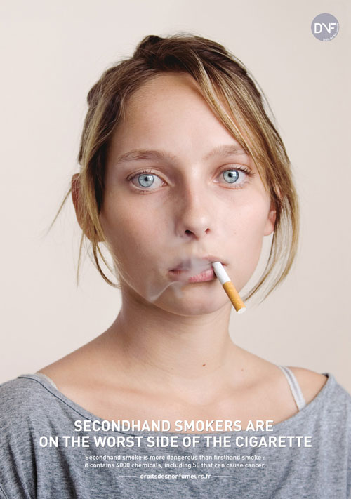 Secondhand smokers are on the worst side of the cigarette Print Advertisement