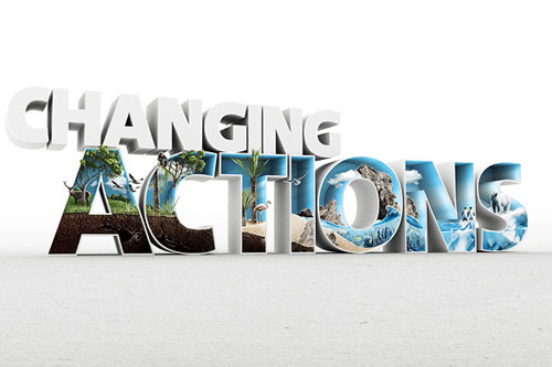 Changing Actions Wallpaper Typography Example