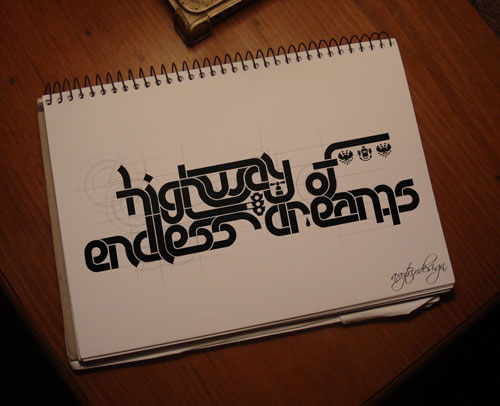 Highway of Endless Dreams Typography Example