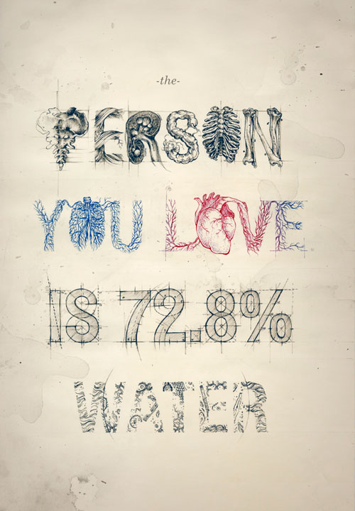 the person you love is 72.8% water Typography Example