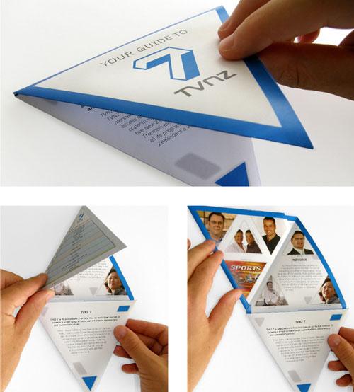 TVNZ-7 --- FOLLETO TRIANGULAR-FOLLETO Inspiración de diseño de folletos (64 ejemplos de folletos modernos)