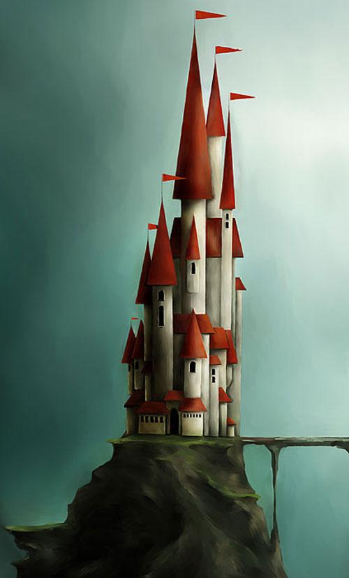 Huge castle on a tiny island