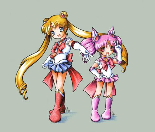Sailor Moon and Chibi Moon