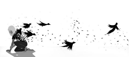 Bird and the worm Conceptual Vector Design Print