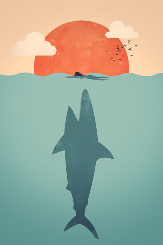 Shark Attack Conceptual Vector Design Print