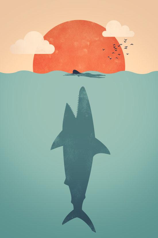 Shark Attack Conceptual Vector Design Print