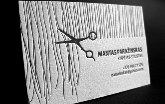 Letterpress Business Card for Hair Stylist Business Card