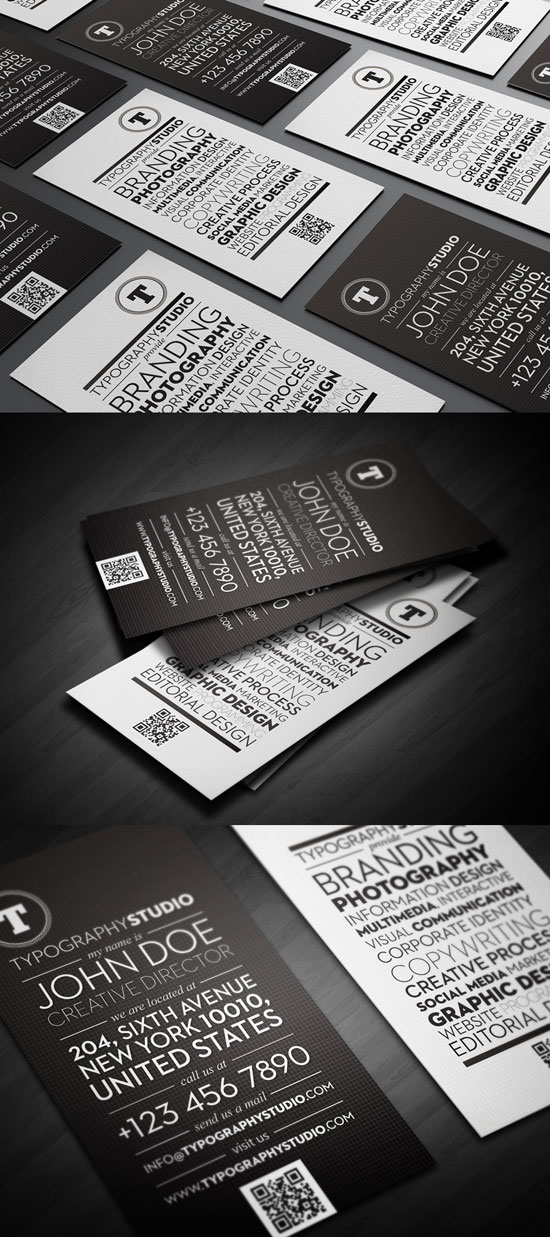 Typography Studio Business Card Inspiration