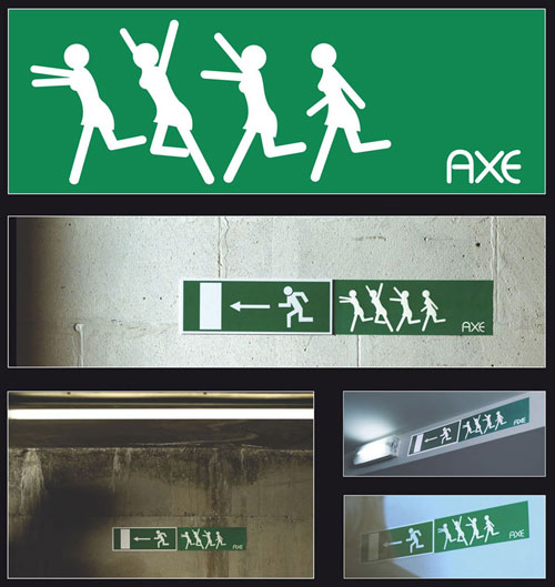 Axe-Emergency-Exit-sign Advertisement Ideas: 500 anuncios creativos y geniales