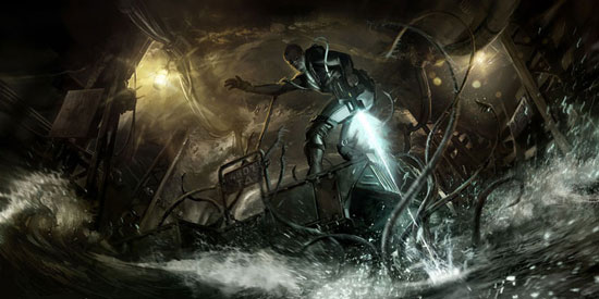 Concept art for video game The deep Drawing Illustration