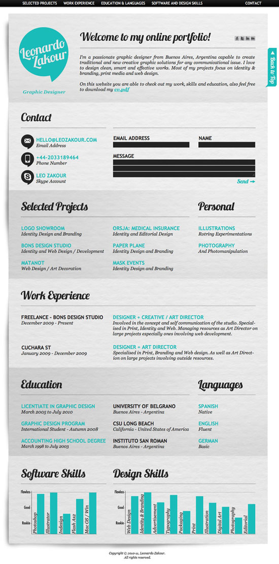Creative Graphic Resume Designs   52 Examples  Cool Resume Designs