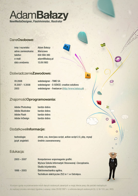 Designer Resume graphic designer resume graphic designer resume Adam Balazy Creative Resume Inspiration