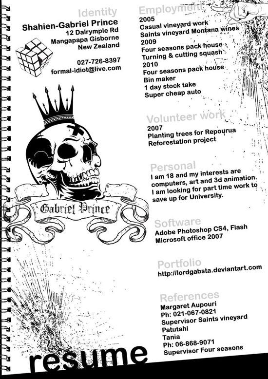 Shahien-Gabriel Prince Creative Resume Inspiration