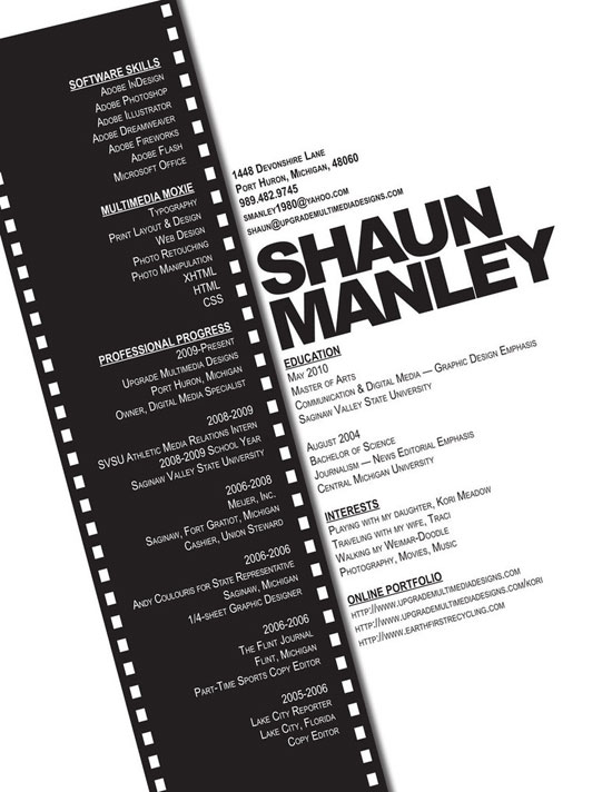 Shaun Manley Creative Resume Inspiration