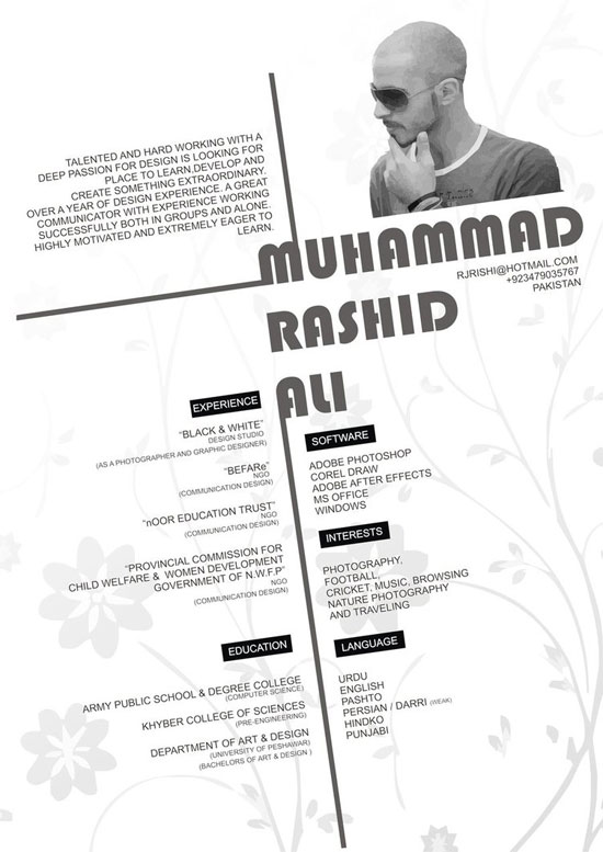 Designer Resume interior designer resume samples Muhammad Rashid Ali Creative Resume Inspiration