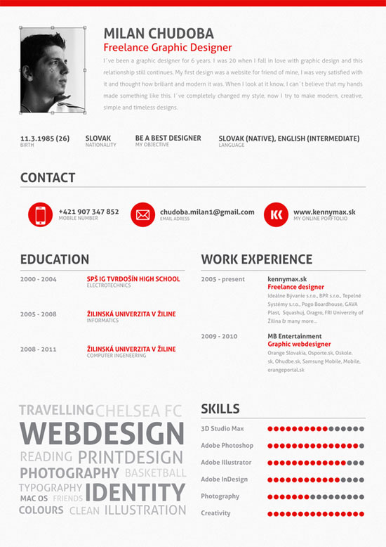 Creative Graphic Resume Designs - 52 Examples