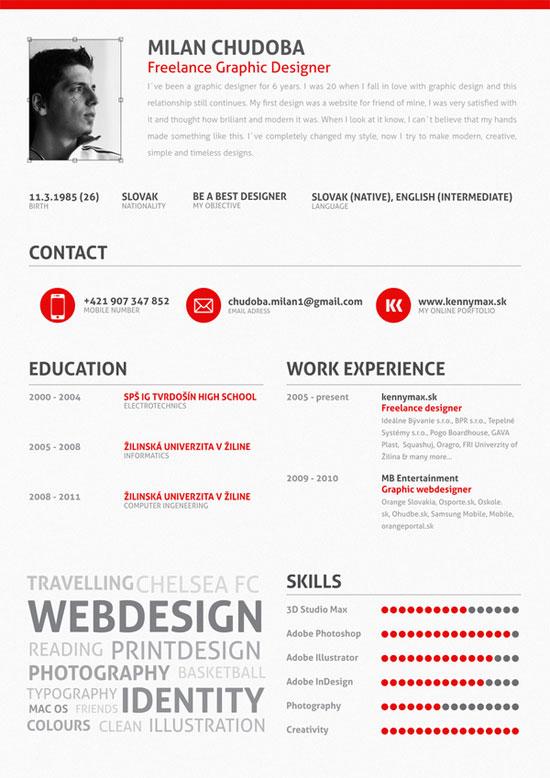 Milan Chudoba Creative Resume Inspiration