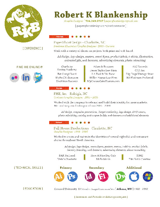 Robert K Blankenship Creative Resume Inspiration