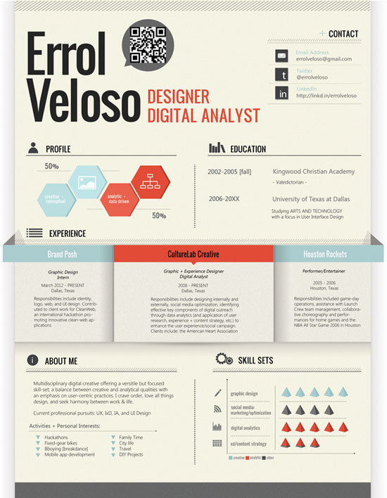 Creative Graphic Resume Designs Which Will Amaze You   53 Examples PZoTT6F1
