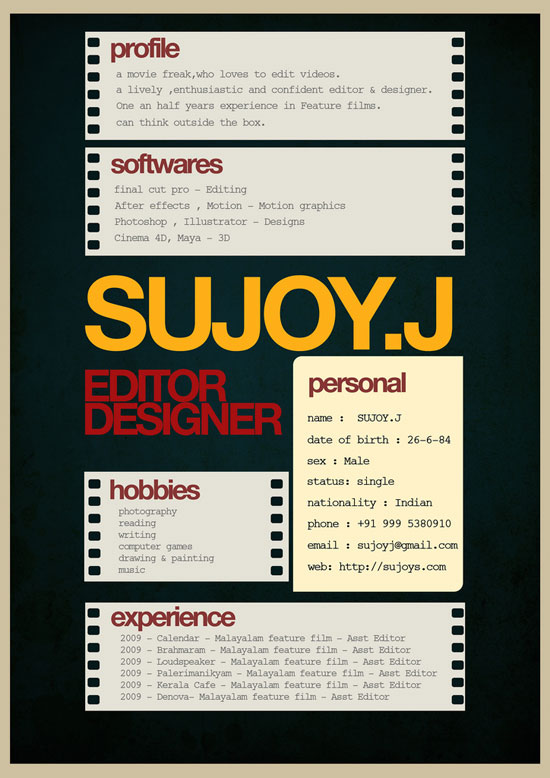 Sujoy.J Creative Resume Inspiration