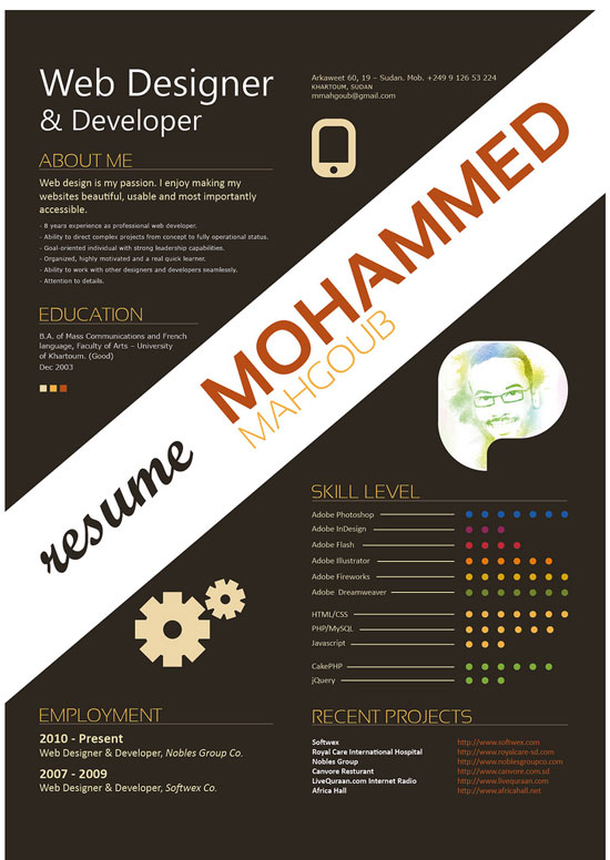 Graphic Design Resumes feat resume Mohammed Mahgoub Creative Resume Inspiration