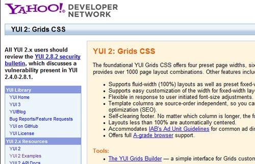 YUI 2 CSS framework