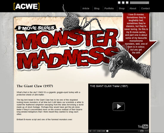 B-Movie Series: Monster Madness - Avoid Contact With Eyes Custom Post Design Inspiration