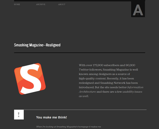 Smashing Magazine—Realigned Custom Post Design Inspiration
