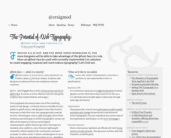 The Potential of Web Typography: @font-face and Firefox 3.5 Custom Post Design Inspiration