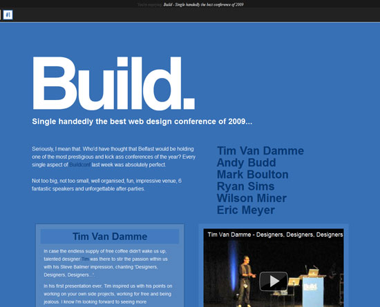 Build - Single handedly the best conference of 2009 Custom Post Design Inspiration