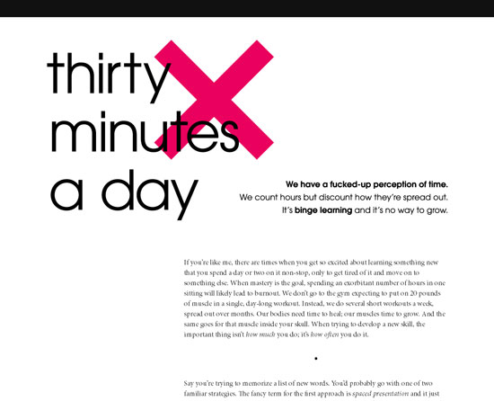 30 Minutes a Day Custom Post Design Inspiration