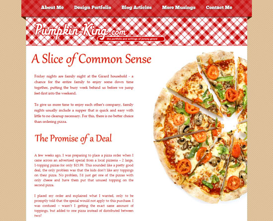 A slice of common sense Custom Post Design Inspiration