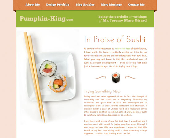 In Praise of Sushi Custom Post Design Inspiration