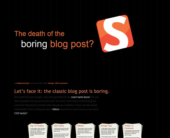 The death of the boring blog post?Custom Post Design Inspiration