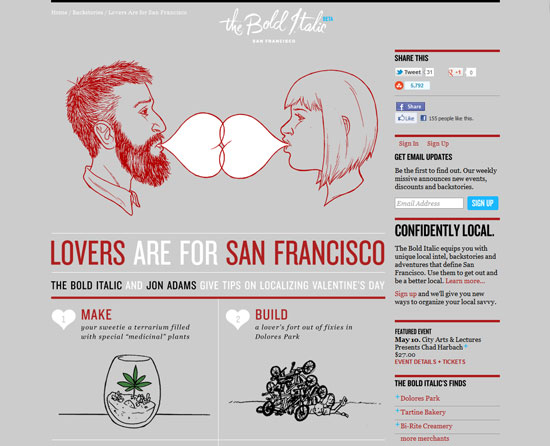 Lovers Are for San Francisco Custom Post Design Inspiration