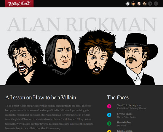 The many faces of Alan Rickman Custom Post Design Inspiration