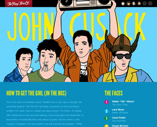 The many faces of John Cusack Custom Post Design Inspiration