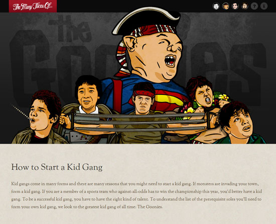 The many faces of The Goonies Custom Post Design Inspiration