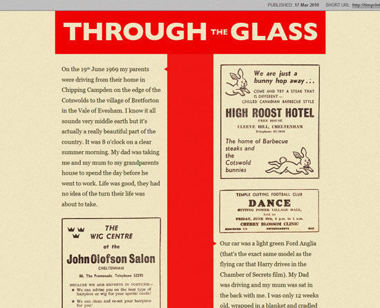 Through the glass Custom Post Design Inspiration