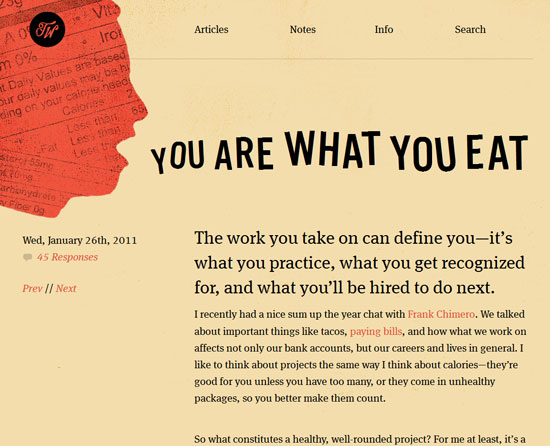You Are What You Eat Custom Post Design Inspiration