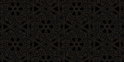 Ornate Swirl Black background tileable and seamless pattern