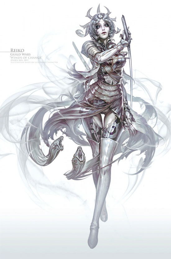 Guild Wars Winds of change Reiko Drawing Illustration Inspiration