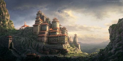 Chinese Monastery Concept Digital Painting Landscape