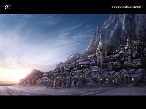 Winter Village Digital Painting Landscape